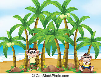 A beach with coconut trees and monkeys - Illustration of a...