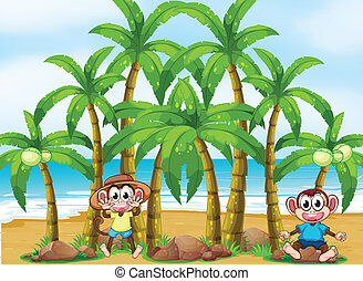 A beach with coconut trees and playful monkeys -...