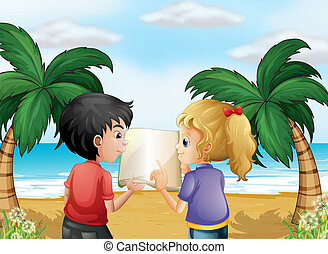A beach with two kids discussing