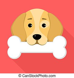 A beagle dog holds a bone in his mouth against a red background. A place for your projects. A sweet animal. Cartoon style. Vector illustration in a flat style