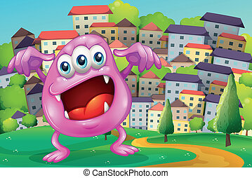 A beanie monster shouting at the hilltop across the buildings