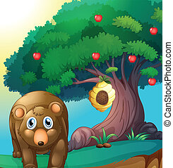 A bear and an apple tree with a beehive