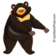 A bear dancing on white background