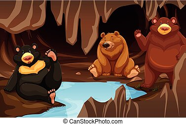 A bear family living in the cave
