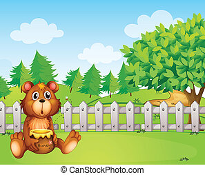 A bear holding a honey at the backyard - Illustration of a...