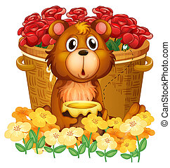 A bear in front of the basket with red roses