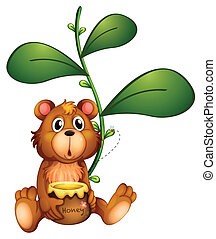 Illustration of a bear near a vine plant on a white background