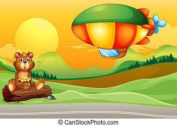 A bear near the road and an airship
