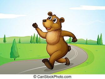 A bear running at the road