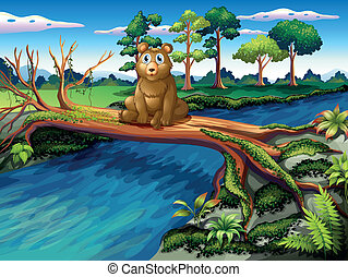 A bear sitting at the center of the wooden bridge