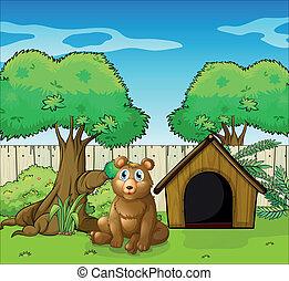 A bear sitting inside the fence - Illustration of a bear...