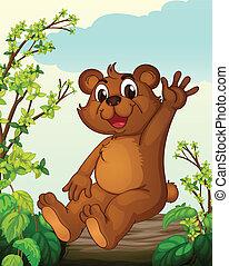 A bear sitting on a wood