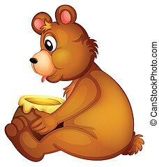 A bear with a pot of honey