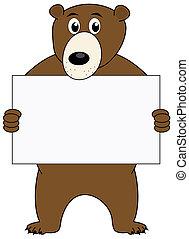 a bear with billboard