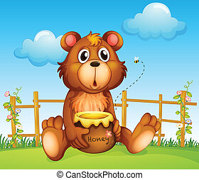 A bear with honey pot and honey bee