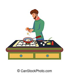 A bearded man in a green sweater is cooking scrambled eggs on the pan. Vector illustration in flat cartoon style.