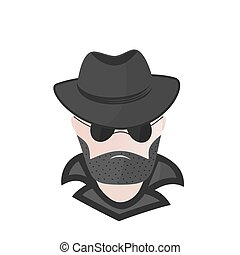 A bearded man in a hat with sunglasses. Spy. Detective....