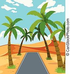 a, beau, désert, route