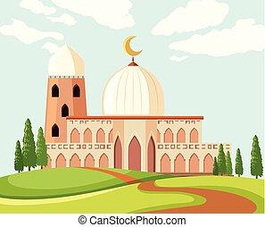 a, beau, mosquée, paysage