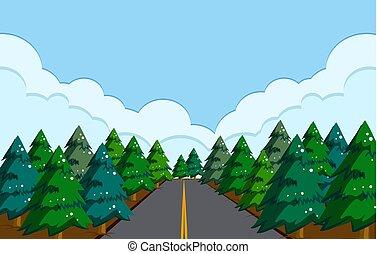 a, beau, route, paysage