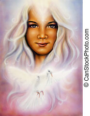 beautiful airbrush painting of a young girls angelic face -...