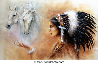 A beautiful airbrush painting of a young indian woman wearing a gorgeous feather headdress, with an image of two white horse spirits hovering above her palm