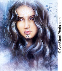A beautiful airbrush painting of an enchanting woman face with