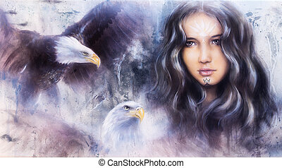 A beautiful airbrush painting of an enchanting woman face with t