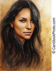 young enchanting woman face with long dark hair