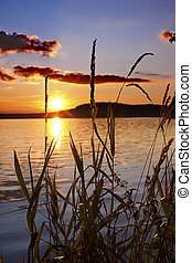 sunset - a beautiful and colorful sunset by the lake