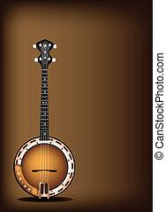 A Beautiful Banjo on Dark Brown Bac - Music Instrument, An...