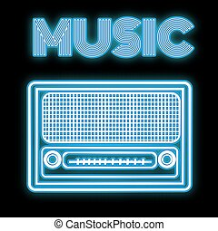 A beautiful blue bright glowing abstract neon icon, a signboard of an old retro vintage radio from the 60s, 70s, 80s, 90s and copy space with music inscription on black background. Vector