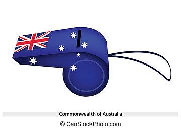 A Beautiful Blue Whistle of Australia Flag - An Illustration...