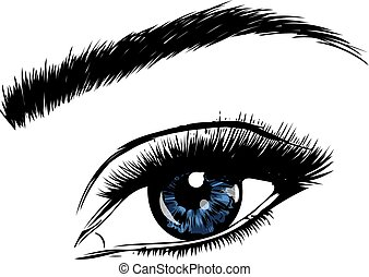 a Beautiful blue woman eye. Vector illustration