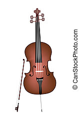 A Beautiful Brown Cello on White Ba