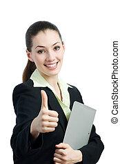 enjoying her success - a beautiful business woman enjoying...