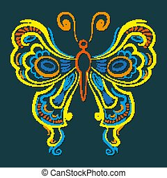 A beautiful butterfly is drawn by hand for your design. Vector