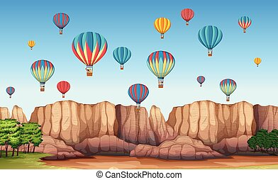 A beautiful cappadocia scene illustration