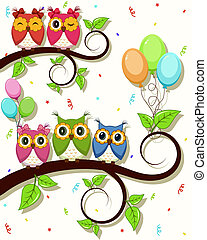 A beautiful card with owls