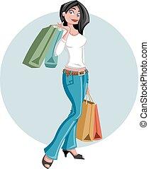 cartoon girl holding shopping bags