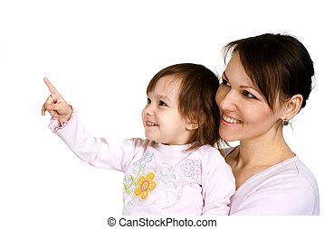 A beautiful Caucasian mother with a beautiful daughter