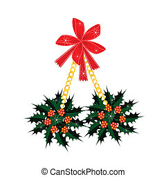 A Beautiful Christmas Holly with A Red Bow