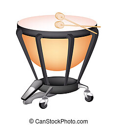 A Beautiful Classical Timpani on White Background