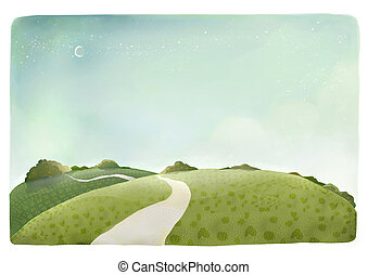 a beautiful drawing of countryside trail scene