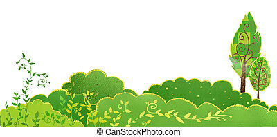 a beautiful drawing of green plant scene