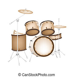 A Beautiful Drum Kit on White Backg