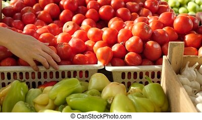 A beautiful dynamic view of healthy fruit food. tomatoes and peppers on the counter. 4k. Slow motion