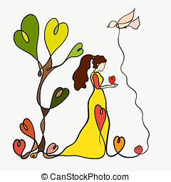 A beautiful enamored lady with a heart in her hands, a creative drawing of one line