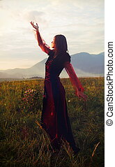 A beautiful fairy girl in a historical costume with long transparent sleeves standing amids a wild meadow landscape