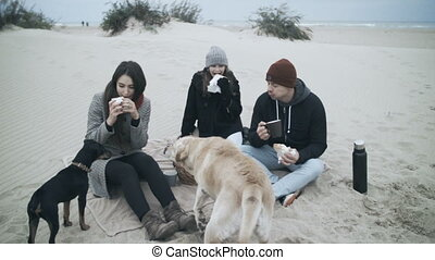 A beautiful family eats sandwiches at a picnic dogs...